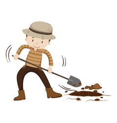 Farmer digging hold on the ground vector image