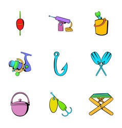Fisherman icons set cartoon style vector