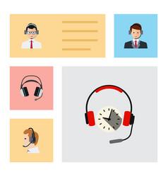 Flat icon telemarketing set of telemarketing vector