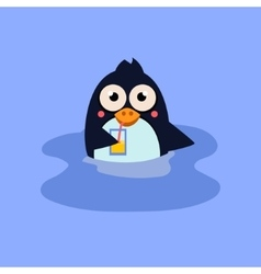 Funny Swimming Penguin with a Coctail vector