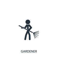 Gardener with lawn rake icon simple gardening vector