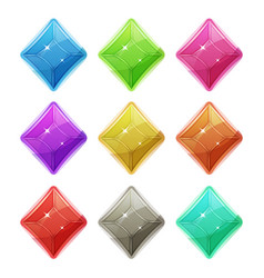 gems crystal and diamonds icons for game ui vector image