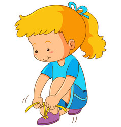 Girl tying shoelaces on white background vector