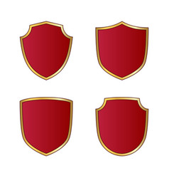 Gold and red shield shape icons set logo emblem vector