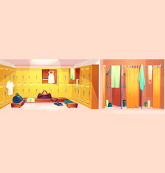 gym - changing room with shower cabins vector image