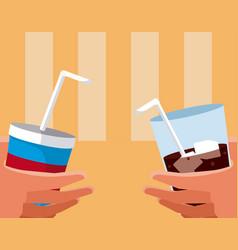 Hands holding drinks vector