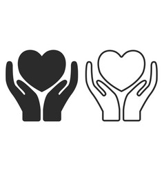 hands holding heart icon charity design vector image