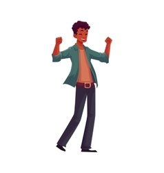 Handsome young black man raising hands in vector