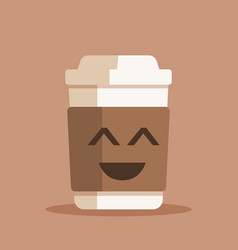 happy coffee cup plastic or vector image