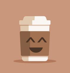 happy coffee cup plastic vector image