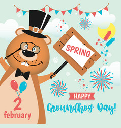 Happy groundhog day design with cute and funny vector