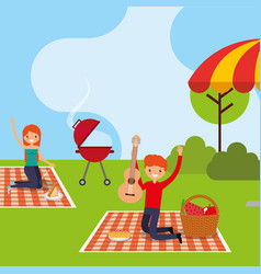 Happy people picnic vector