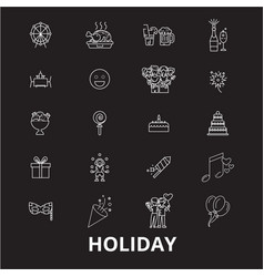 holidays editable line icons set on black vector image