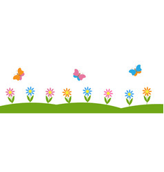 Horizontal background with flowers and butterflies vector