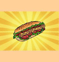 Hot dog with salad and tomatoes vector