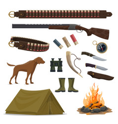 hunter weapon and equipment icon of hunting design vector image
