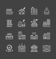 Inear web icons set - buildings collection vector