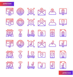 internet security gradient icons set vector image
