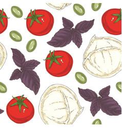 italian food seamless pattern vector image