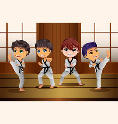 kids practicing martial arts in the dojo vector image