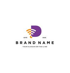Letter d wireless logo design vector