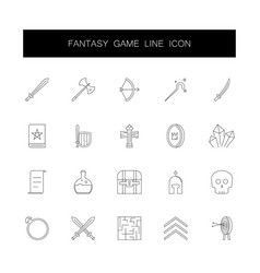 Line icons set fantasy game pack vector