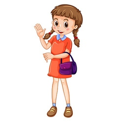 Little girl carrying purple purse vector