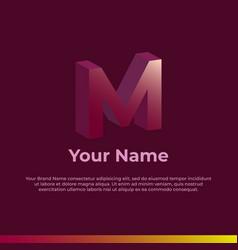 Logotype alphabet 3d logo letter m monogram logo vector