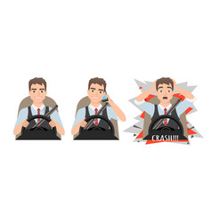 Man holding mobile phone while driving car crash vector