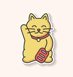 Maneki neko patch traditional japanese mascot to vector