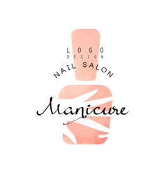 Manicure nail saloon logo design element for nail vector