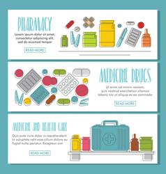medicine doodle three horizontal banners vector image