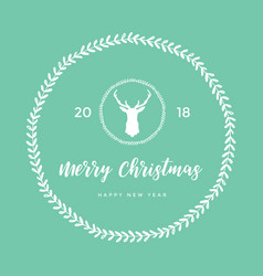 merry christmas and happy new year with reindeer vector image