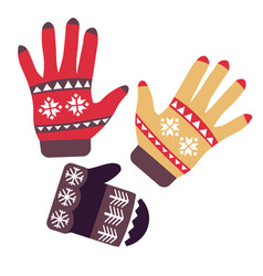 mittens and gloves isolated objects knitwear or vector image