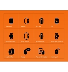 Mobile smart watch icons on orange background vector