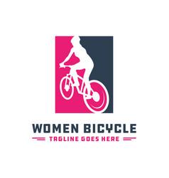 Modern ladies bicycle logo vector