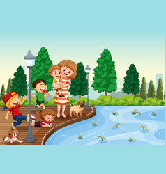 mother and children at the park vector image