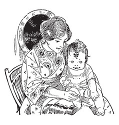 Mother holding child on lap vintage vector