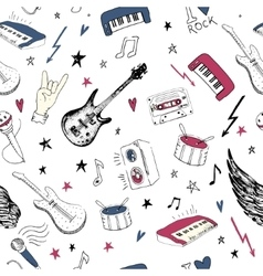 Music symbols Seamless pattern rock music vector