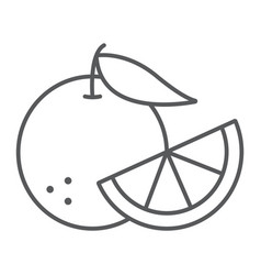 orange fruit thin line icon fruit and vitamin vector image