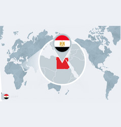 Pacific centered world map with magnified egypt vector