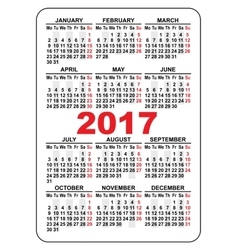 Pocket calendar 2017 First day Monday vector image