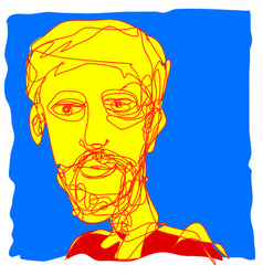Pop art hipster beard men in yellow red and blue vector