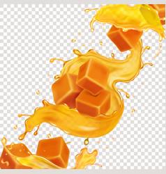 Pouring sweet caramel splash caramel pieces vector