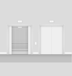 Realistic opened and empty elevator in hall vector