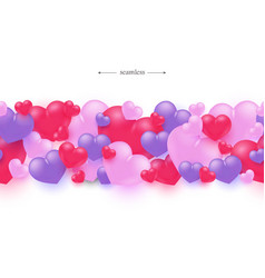 red blue hearts seamless pattern background vector image