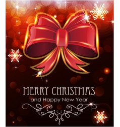 red christmas bow on holiday background vector image