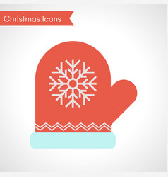 red mitten with snowflake sign christmas icon vector image