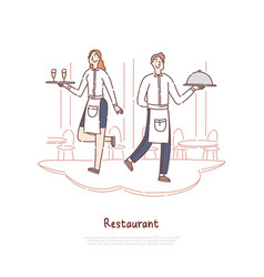 Restaurant staff holding tray with meal vector