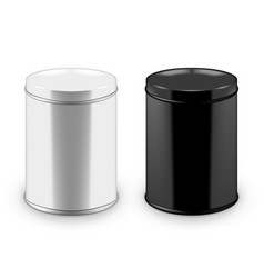 round black and white glossy tin can with lid vector image